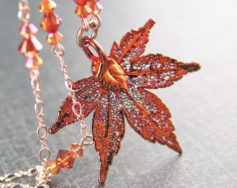 Tiny Japanese Maple Leaf Necklace 14k Rose Gold Fill Chain Necklace Copper Maple Leaf Pendant Necklace Botanical Jewelry Copper Necklace