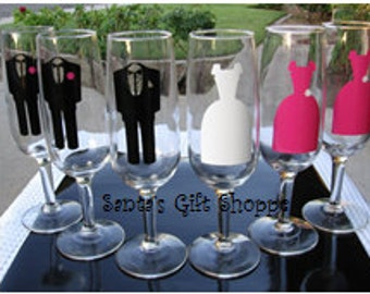 6 Bride/Bridesmaids Groom/Groomsmen - Vinyl for Glasses - 6 Vinyl Decals - GLASSES NOT INCLUDED - Wedding