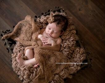 SET Mocha Brown Mohair Knit Baby Wrap and Headband Newborn Photography