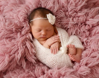 SET Off White Mohair Knit Baby Wrap and Flower Headband Newborn Photography