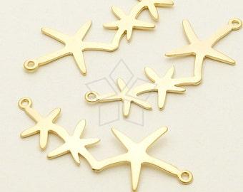 PD-1027-MG / 2 Pcs - Three Starfish Sideways Pendant, Matte Gold Plated over Brass / 35mm x 13mm