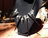 RavensClaw- metal raven skulls with steenbok horn sheds OOAK necklace