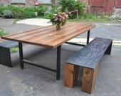 Reclaimed Oak Wood H-frame Dining Table