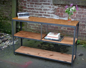 Reclaimed Oak Wood and Leather Bookcase Console