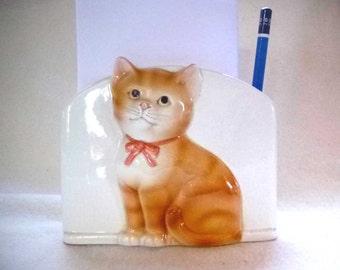Orange Tabby Cat Desk Organizer by Otagiri Pencil and Note Holder