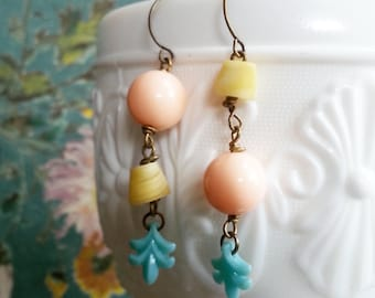 Mismatched Beaded Dangle Earrings, Funky Shabby CHic Jewelry, Long Vintage Bead Earrings for Women