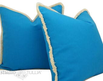 Cobalt Blue Pillow Covers - natural brush fringe - SALE - Set of TWO - 20 inch - blue pillow - decorative pillow cover - ready to ship
