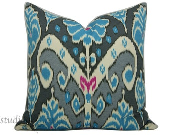 Decorative Pillow Cover - Ikat Pillow - SALE - 20 inch - Gray and Blue - Designer Pillow Cover - tribal ikat - market marvel - ready to ship