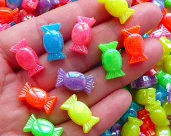Acrylic Candy Beads Colorful Plastic Sweets Charms (10pcs / 15mm x 8mm / Mix) Rainbow Bracelet Chunky Necklace Lolita Jewellery CHM2114