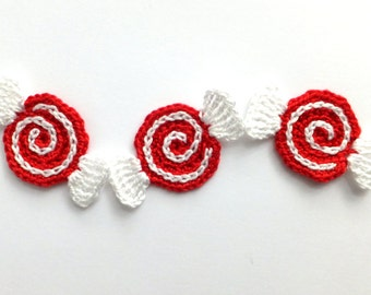 Christmas candy applique - peppermint candy decorations - crochet Christmas candy decorations - holiday ornaments - red and white - set of 3