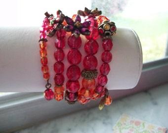 Sweet Romance Crystal and Charm Bead Wrap Bracelet