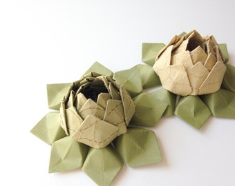 Beautiful Paper Flower - Origami Flower - Lotus Flower - Metallic Stitched Art Paper - Choose green or gold