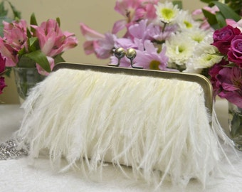 Ostrich Feather Fringe Clutch, White Wedding Purse, Ivory Bridal Clutch, Blush Wedding Purse, Champagne Clutch, {Feather Fringe Kisslock}