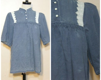 60s 70s Navy Blue Polka Dot Blouse Tunic Medium Large Lace Retro