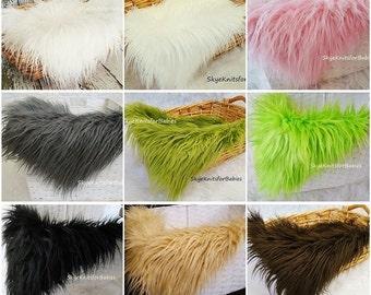 "Newborn Photo Prop, Faux Fur Basket Filler 18""x22"", Photography Accents, Faux Fur Fabric, Mongolian Fur, Basket Stuffer, Backdrop, RTS"