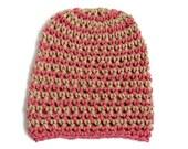 Crochet Hat Pink Vegan Crochet Striped Beanie