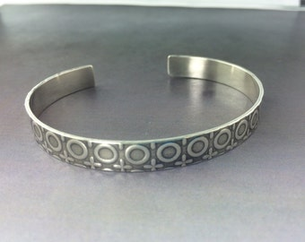 Cuff Bracelet, Silver Patterned Circles Cuff Bracelet, made to order, light weight bracelet, Man or Woman's bracelet
