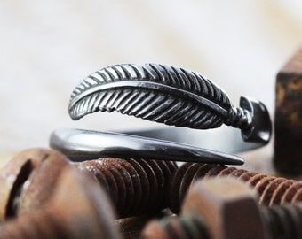 Sterling Silver Ring Black Feather Man Jewelry