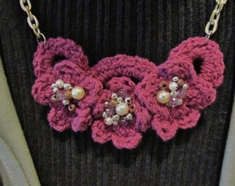 Crocheted Flowers with Beaded Centers Necklace....Silver and Mauve Pink