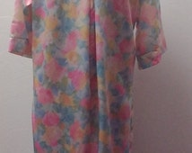 On Sale 1970s Long Sleeve House Robe, Silky Polyester, Pastel Floral, by Ariel Petites, Size Medium Large, #51543