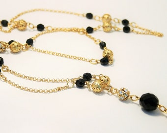 Vintage French jet and crystal necklace. Long necklace. Layering necklace