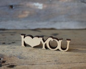 I Love You Wood Cut - Craft - Supply - Unfinished - Wood - Laser Cut - Sign - Plaque