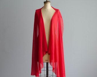 Vintage 1940s Chiffon Shawl - 40s Silk Shawl - She Devil Chiffon Shawl