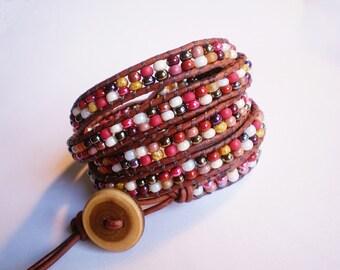 ON SALE Brown Bracelet Czech Glass Jewelry Leather Wrap Cuff Southwestern Wrap