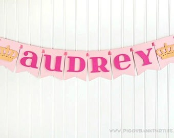 Custom Phrase Banner - Royal Crown : Handcrafted Birthday Party Decoration   Custom Name Sign   Princess Party   Queen   Customize the Style