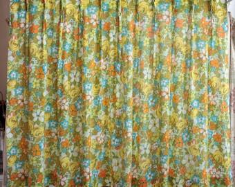 Vintage Tropical Floral Curtain // 1960s/70s Hawaiian Print