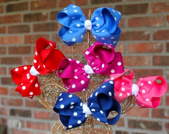 LARGE POLKA Dot Hair Bow, your choice of color
