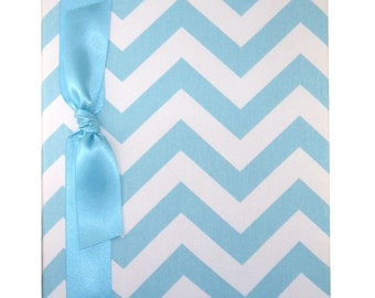 Tight Bound Baby Memory Book - Blue and White Chevron Stripe
