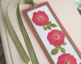 Red Rose Pressed Flower Laminated Bookmark