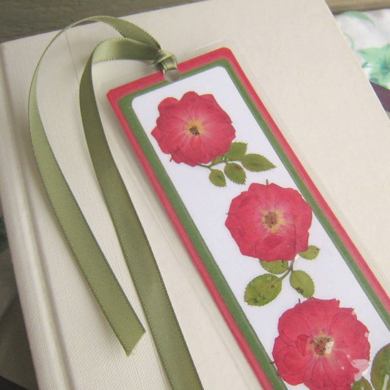 Laminated Pressed Flowers ~ Red rose pressed flower laminated bookmark