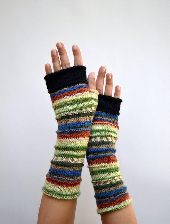 Knit Fingerless Gloves - Rainbow Fingerless Gloves - Wool Gloves - Earth Tones Gloves  - Knit Accessories nO 54.