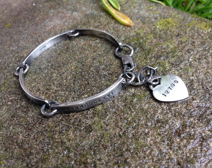 Hand Stamped Solid Sterling Silver Forged Link Bracelet with Heart Charm - Thick - Customize Words, Font - Your Own Message - Wonderful Gift