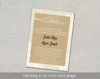 Modern and Neutral wedding invitation with Branches and Bird Silhouette