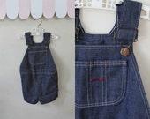 vintage child's overalls - BIG MAC dark denim shortalls / 3T-4T