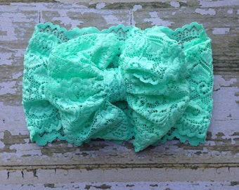 Mint Lace Messy Bow Head Wrap