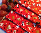 Children's Cloth Napkins - Puppy Dogs, Paw Prints - Set of 4, Lunch Box Napkins, Reusable Napkins, Space Napkins, Reversible Napkins