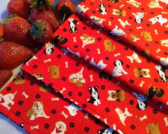 Children's Cloth Napkins - Puppy Dogs, Paw Prints - Set of 4, Lunch Box Napkins, Reusable Napkins, Reversible Napkins