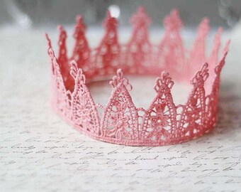"Light Pink Lace Crown - ""Party Princess"" - fairytale, ballet crown, birthday crown, bridal crown, bachelorette party"