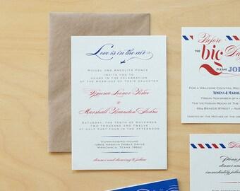 Retro Airmail Wedding Invitation Download, Custom Destination Wedding Invitation Printable,Vintage Airplane Wedding Invitation Template