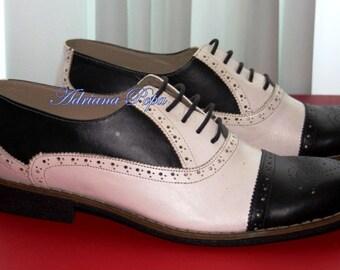 50% SALE Men Brogues Shoes Men Oxford shoes Black&White  Leather Handmade Black White Oxfords Brogues Stage men shoes