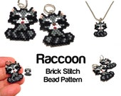 Brick Stitch Raccoon PATTERN, Seed Bead Weaving, Cute Animal Jewelry Craft