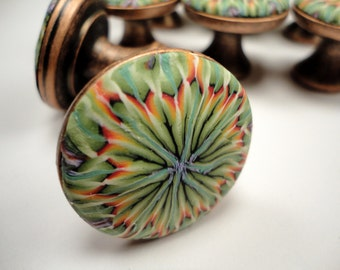 8  Copper   Cabinet Knobs/Pulls   48 available  Polymer Clay over Metal Knob  Green Rust