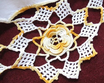 Vintage Crocheted Pillowcase White Cotton Yellow Crochet Irish Rose Trim