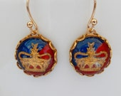 Monarchist Crown Earrings, British Blue and Red, Vintage Cabochons, Vintage Crown Earrings