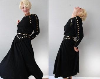 Vintage 80s Gold Circle Studded Black Shirt and Skirt Set by Lillie Rubin