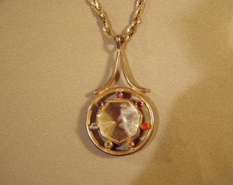 Vintage Sterling Silver Large Chunky Pendant Necklace With Faceted Colorful Gemstones  8021